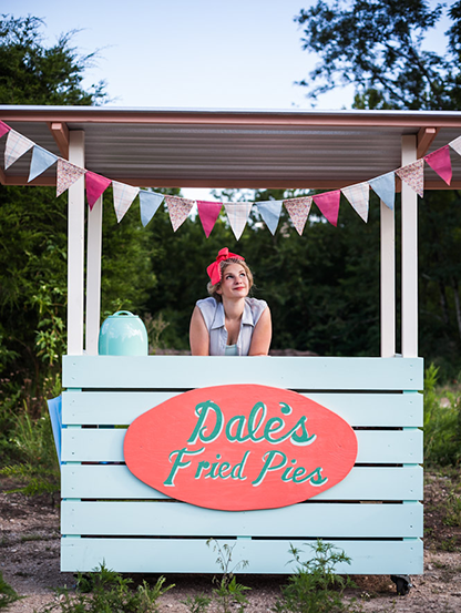 Dale Mackey in her Dale's Fried Pies stand