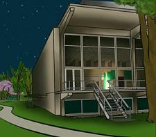 cartoon illustration of Burling Library with single carrel lit on first floor