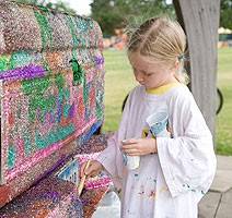 Joslynn Winburn enjoyed painting the glitter truck