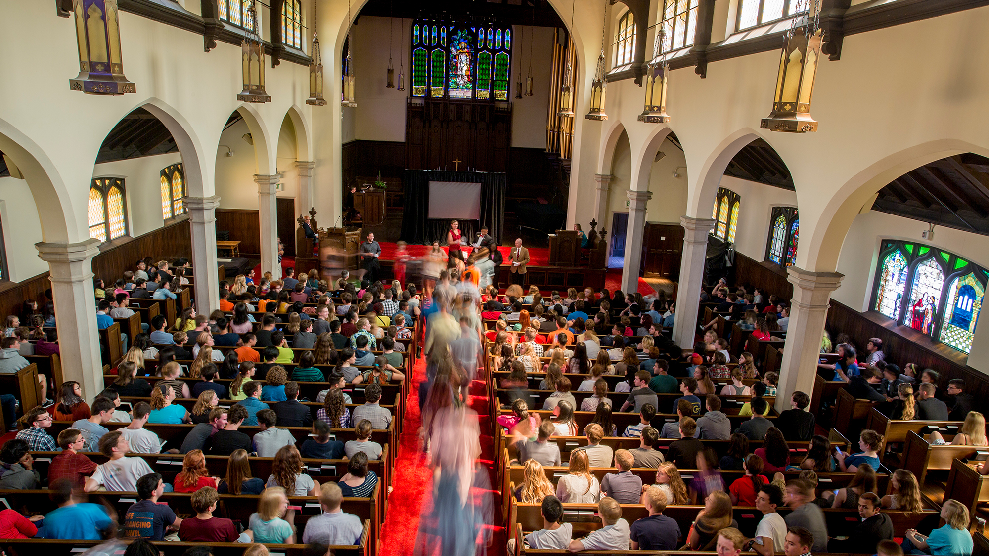 View of a full Herrick Chapel from the balcony
