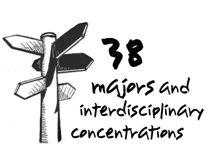 text: 38 majors and interdisciplinary concentrations