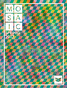 Red, yellow, and green checkerboard design, cover of Spring 2017 MOSAIC