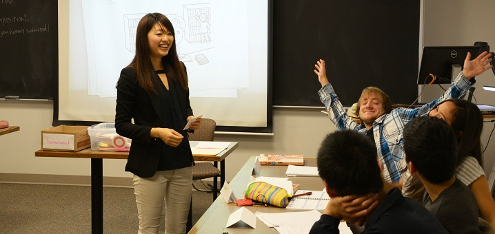 Grinnell College international visiting fellow Japanese instructor with students