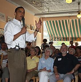 Douglas Caulkins in audience, Barak Obama speaking