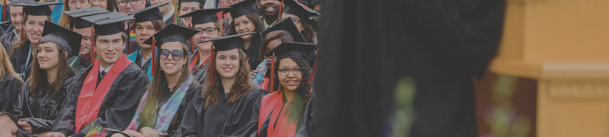 Graduates at Grinnell College Commencement ceremony
