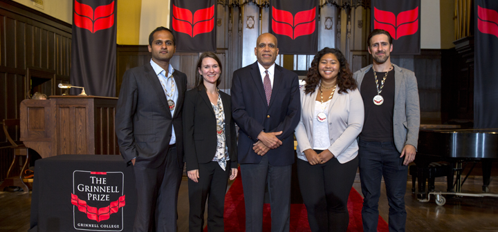 l to r: Ani Vallabhaneni, Lindsay Stradley, President Raynard S. Kington, Kiah Williams and Adam Kircher
