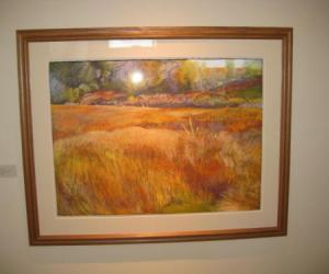 """Photograph of the painting """"The Cera Prairie"""" by Rachel Melis, '01"""