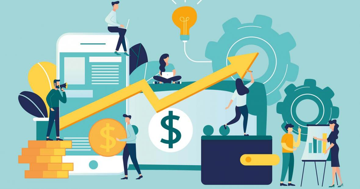 illustration of money and a bar graph going up
