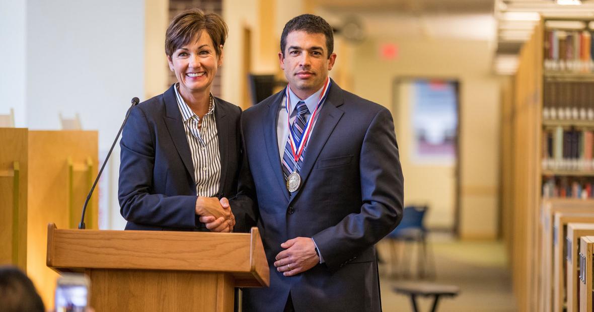 Governor Kim Reynolds and Michael Noyce Marino