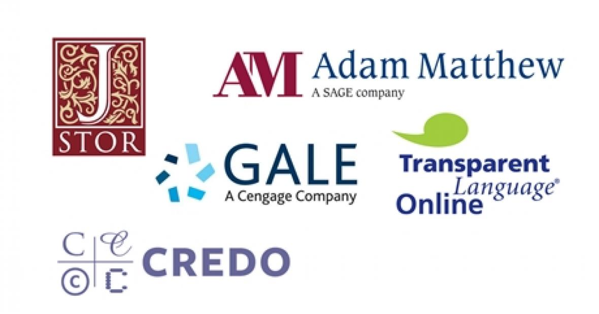 Library databases JSTOR Adam Matthew Gale Credo Transparent Language