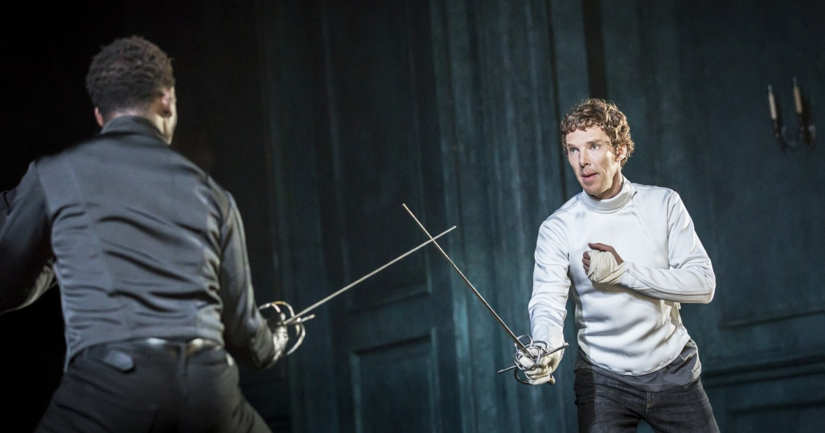 Benedict Cumberbatch and Kobna Holdbrook-Smith at the Barbican Theatre