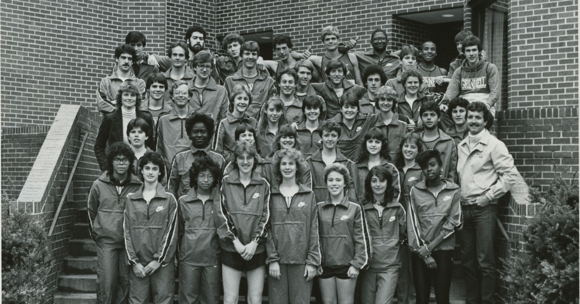 men's and women's cross country team photo from the 1980s
