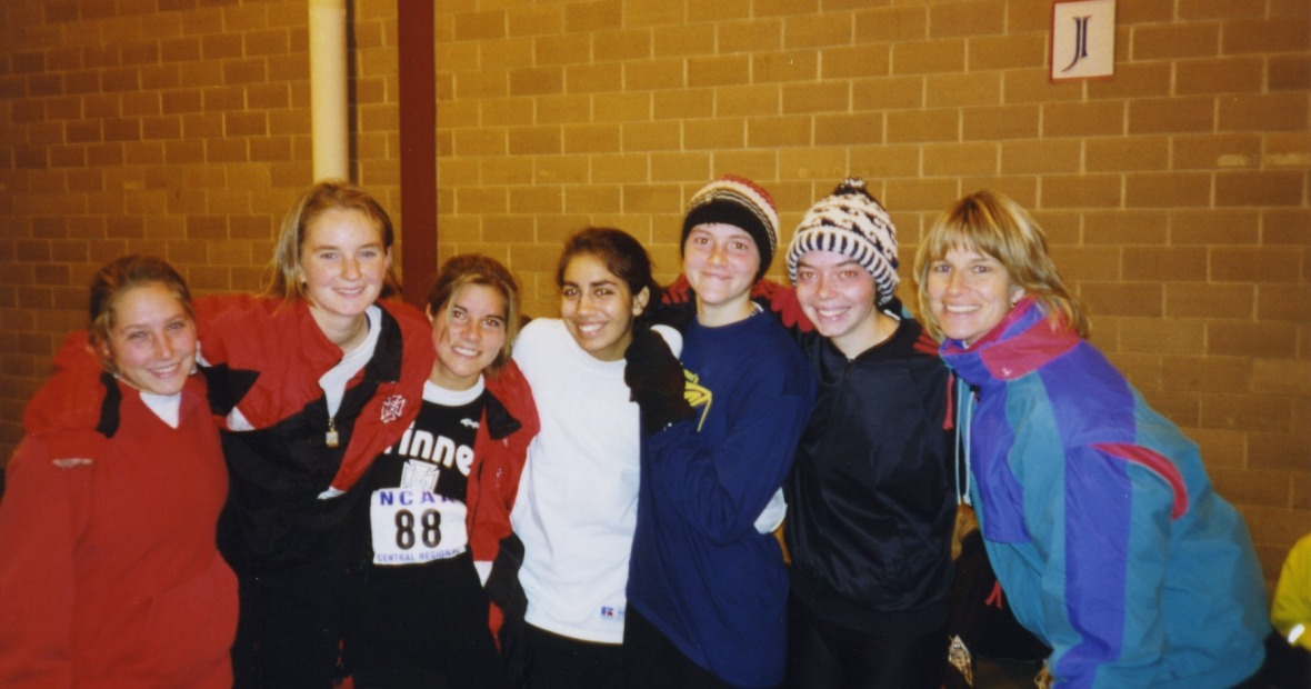 Evelyn with her cross country team