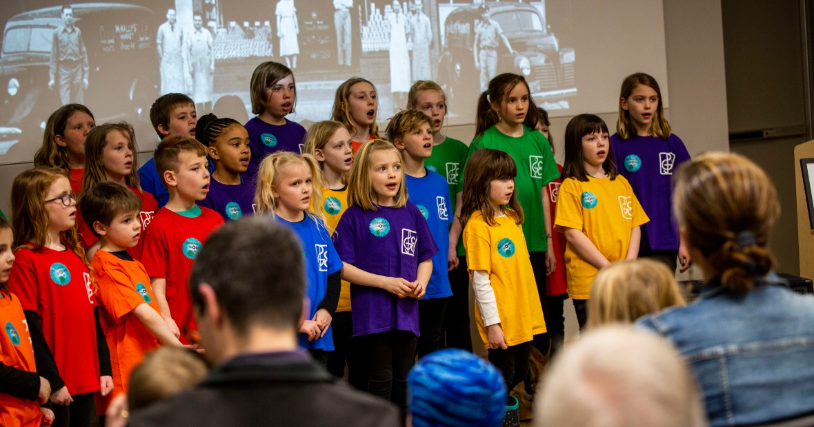 Grinnell Children's Choir singing at the Grinnell Works Opening