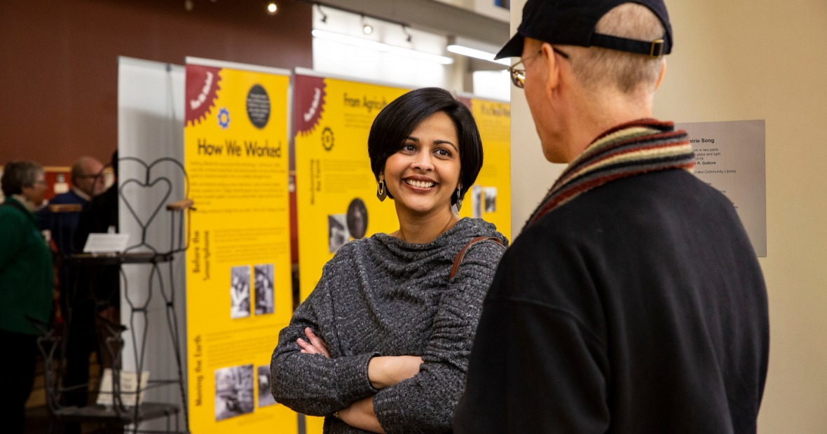Ruki Neuhold-Ravikumar at the Grinnell Works Opening Ceremony