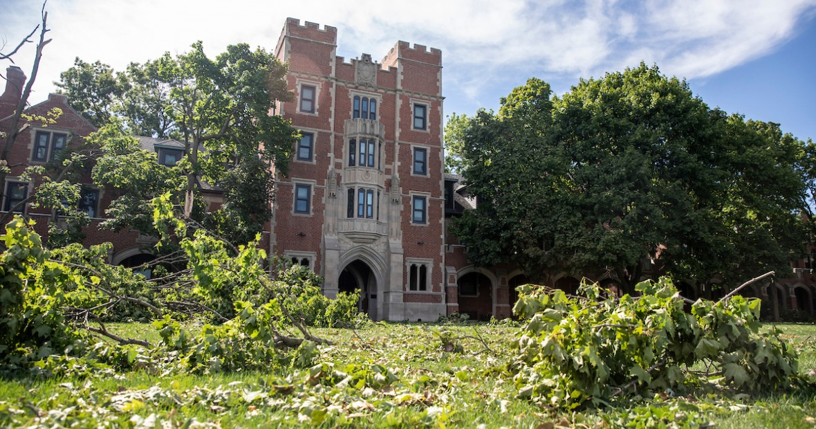Storm damage outside north campus residence halls