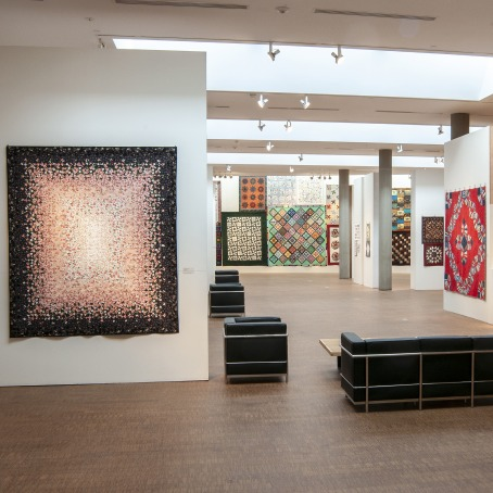 Installation view of the Jewel Box Quilt Guild exhibition, summer 2019