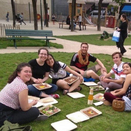 Students having a picnic in Paris