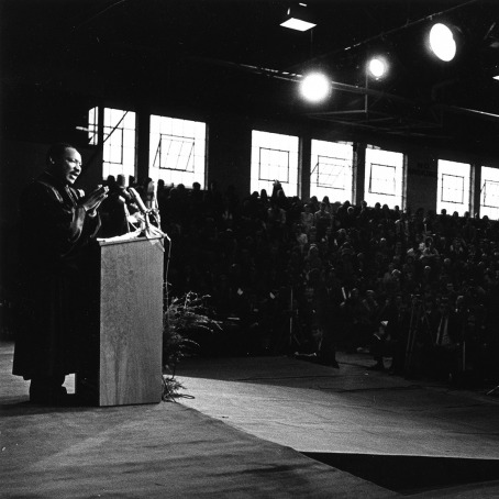 Martin Luther King, Jr. addresses the crowd at Grinnell College's Darby Gym on Oct. 29, 1969