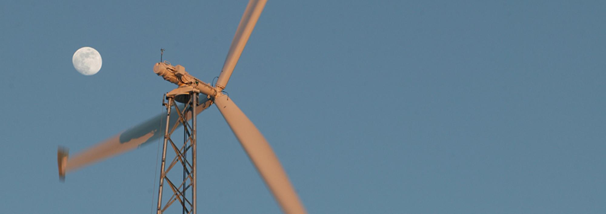 Windmill against a blue sky