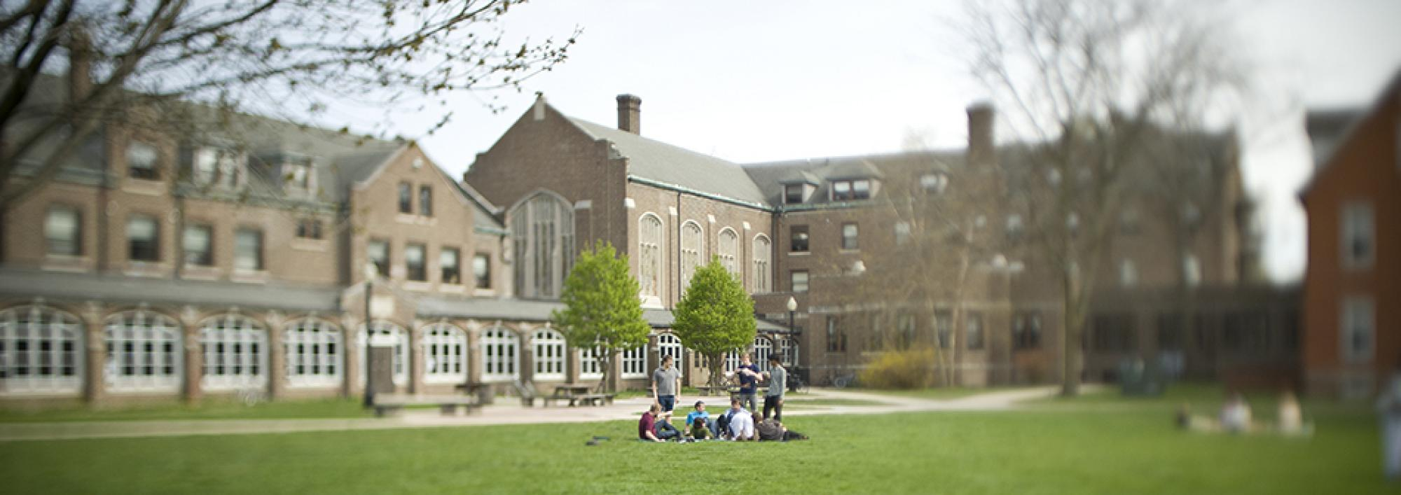 Students gather in front of Cleveland Hall