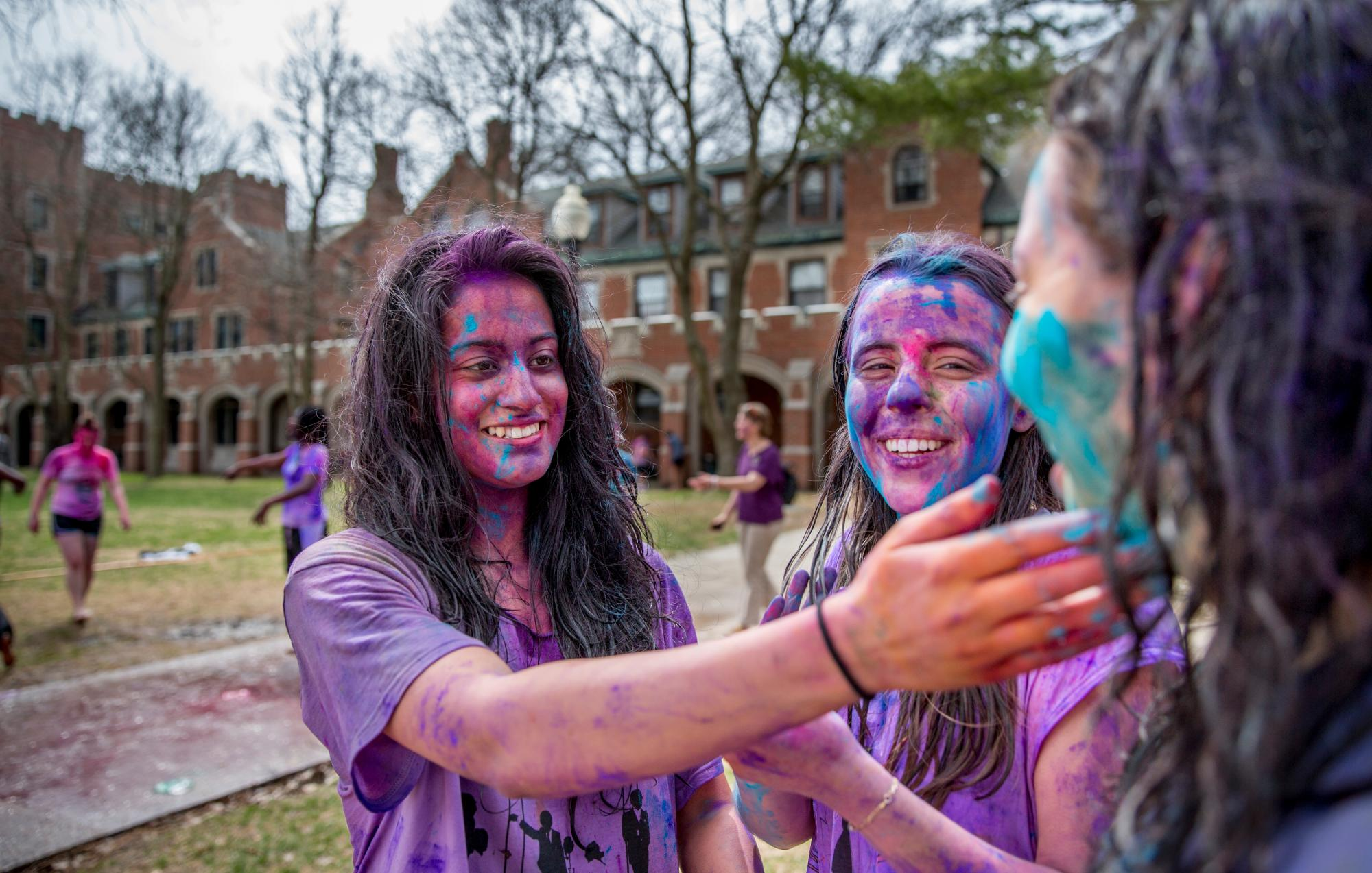 Students celebrate Holi, the Hindu festival of color