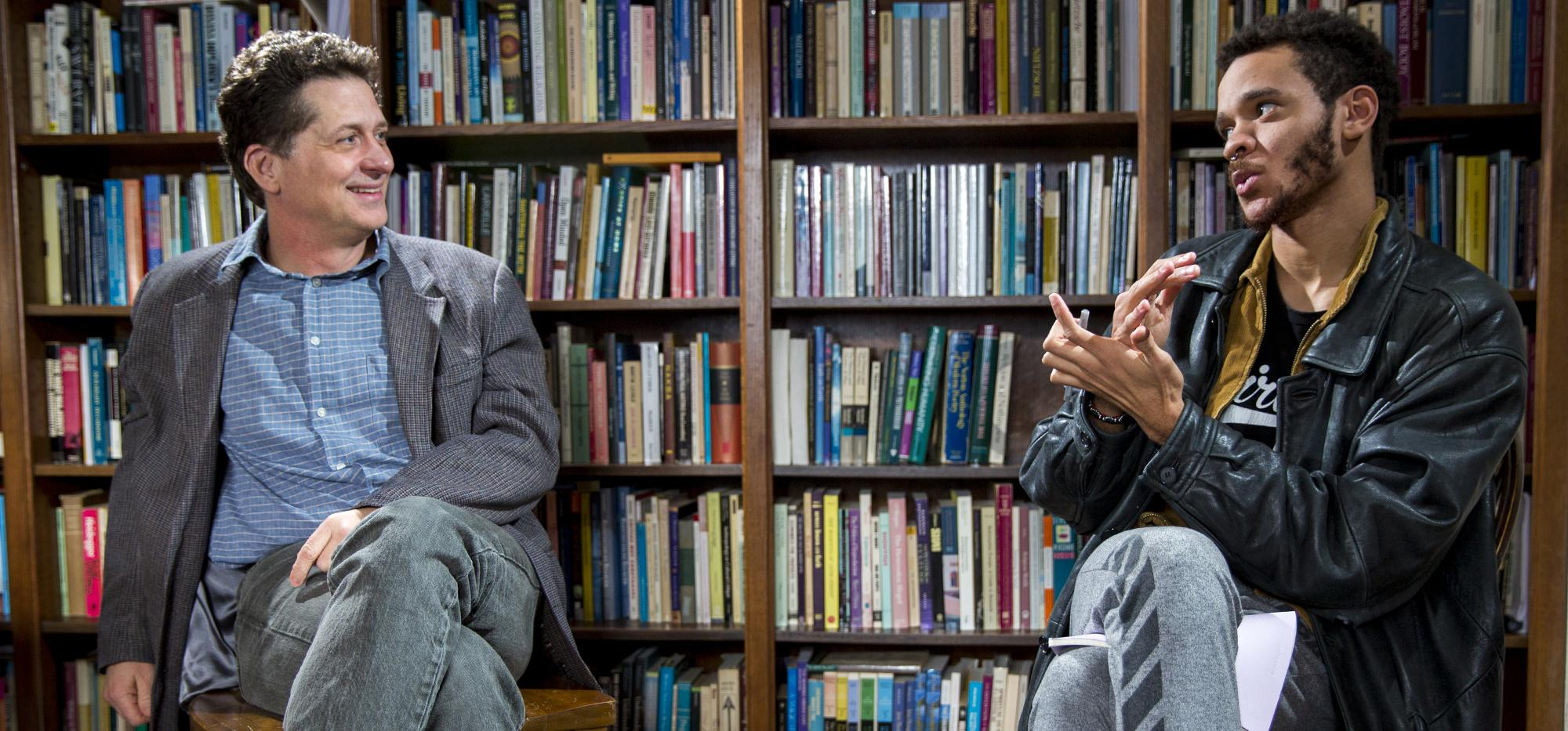 Jermaine Stewart-Webb '16 (right) and Tyler Roberts, professor of religious studies
