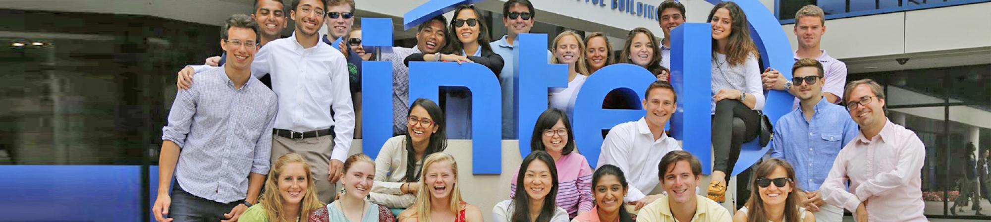 Students pose in front of Intel headquarters