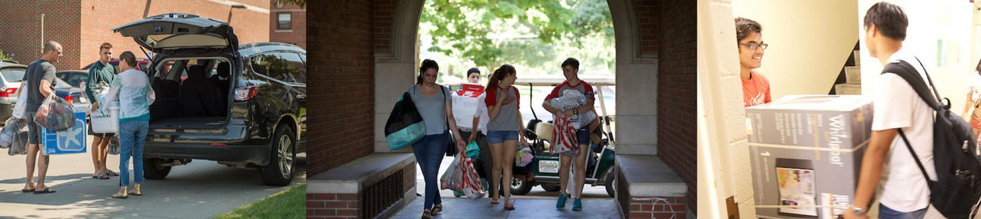 First Picture: A girl and her father unloading a mini-van, Second Picture: 4 Female Student Athletes assisting a new student by carring boxes, Third Picture: Two international students moving a mini-dridge up the stairs of a residence hall