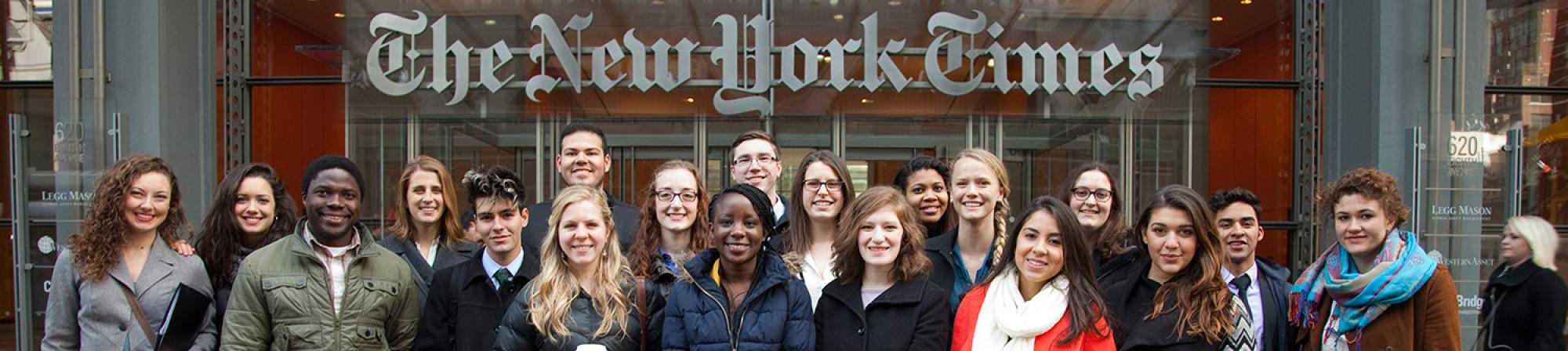 Students visit the New York Times during the spring industry tour