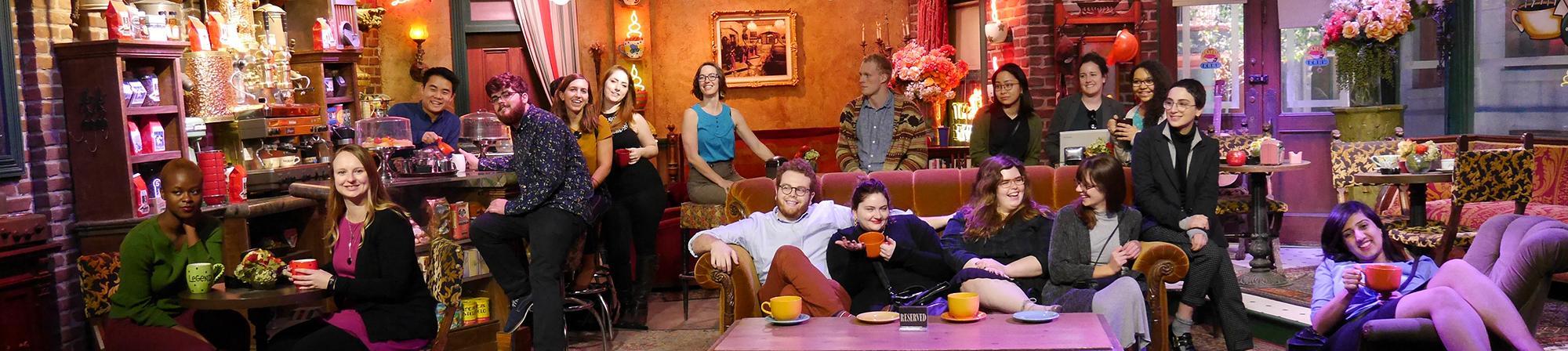 Students on the LA Trek on the set of Friends