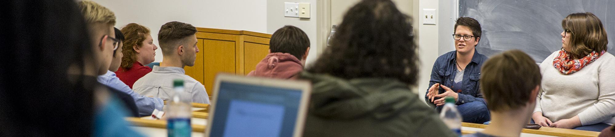 Sociology alumni address a class of current students.