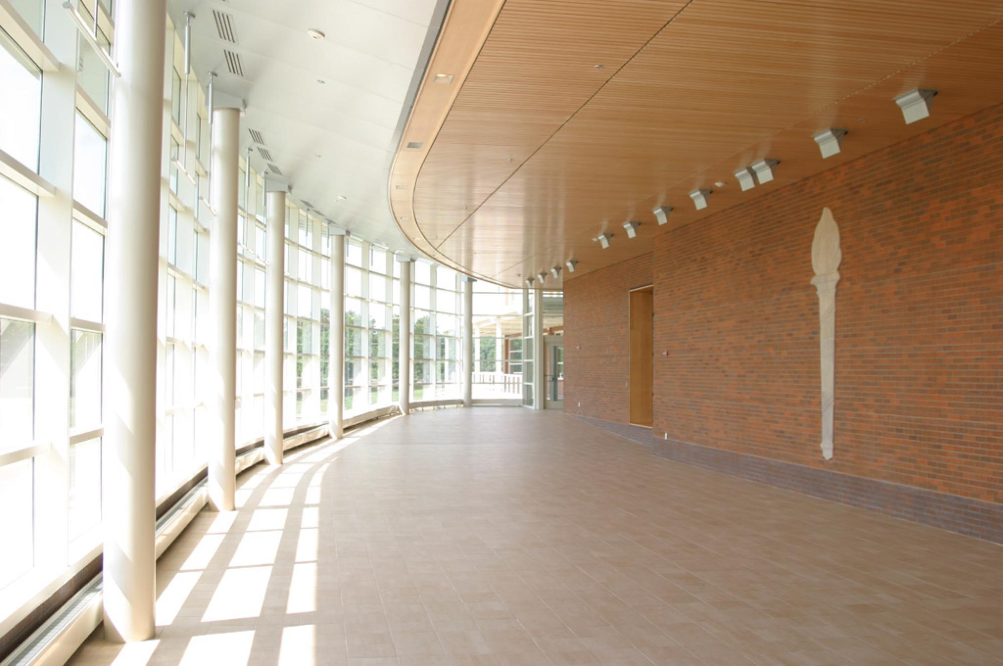 Front windows in the lobby of the Athletic and Fitness Center