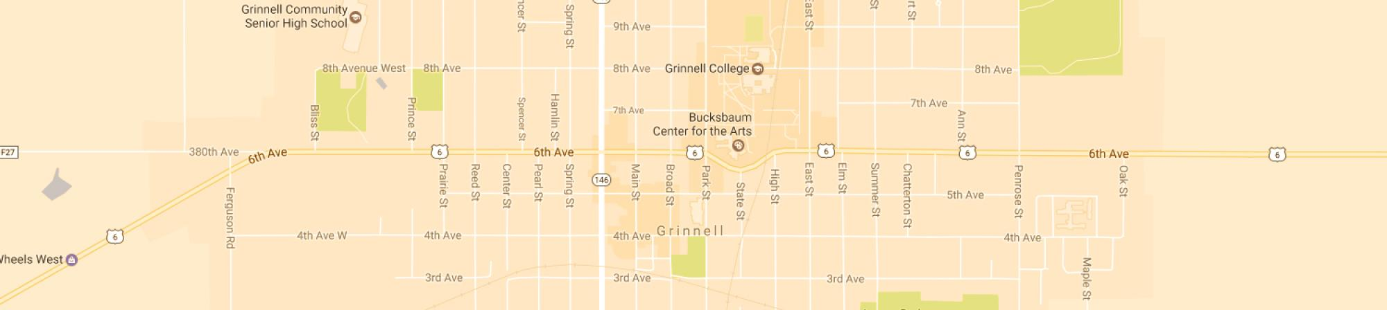 A Google Map of the Grinnell, IA area