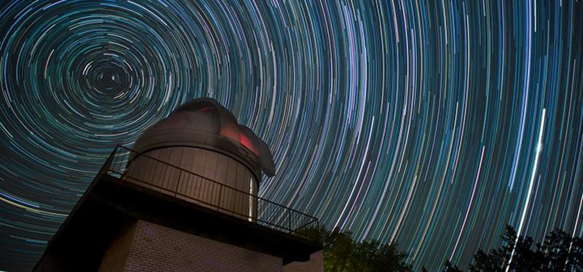 Grant O. Gale Observatory in a composite of 122 separate, one minute exposures made in the course of one night. Photographer:  Colin Brooks '13