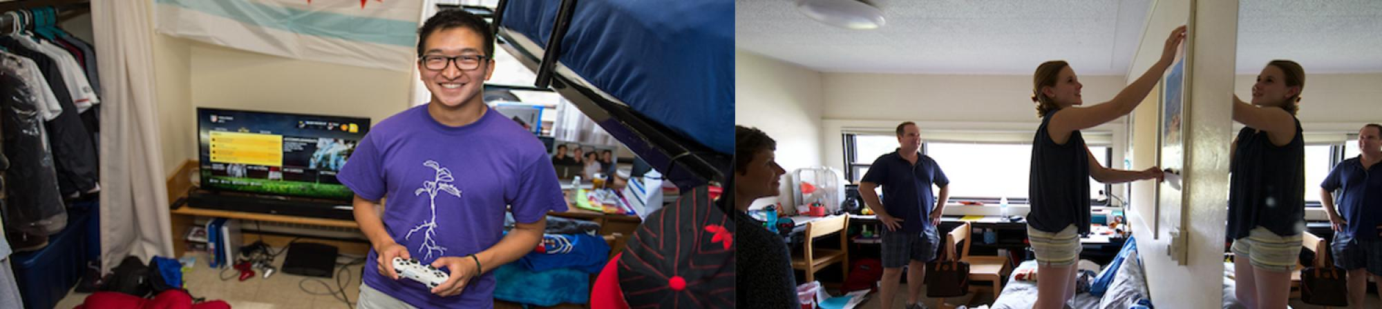 First Photo: A male student facing the camera with a game controller in his hand. Behind him is is loft bed, TV, and unpacked boxes. Photo Two: A femaile student stands on her bed hanging a poster, behind her two family members watch her