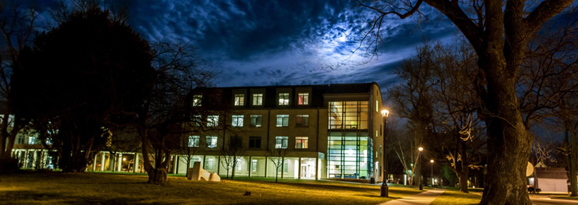 East campus at night