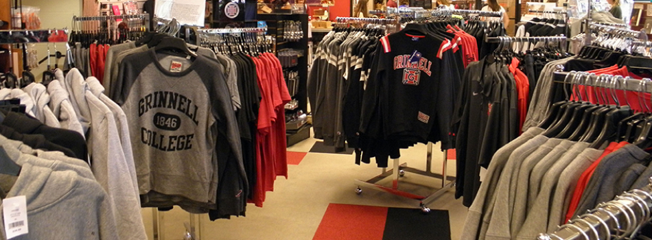 Apparel displays in the bookstore