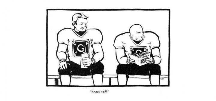 "Two football players on sidelines. One reads Hegel. The other says ""Knock it off!"""