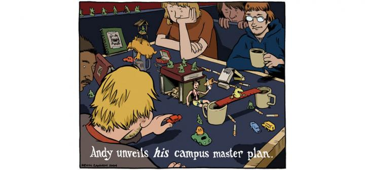 several men view tableau made of books, plastic army men, cigarettes, mugs, etc. Caption: Andy unveils his campus master plan.
