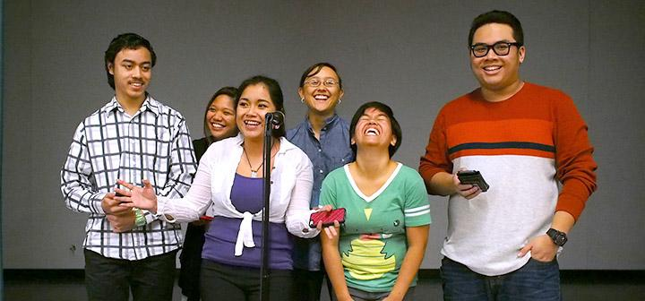 Filipino students on stage
