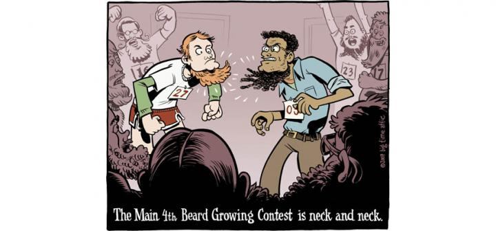 Two men with long neck bears and numbers on chest stare down while others cheer in background. Caption: The Main 4th Beard Growing Contest is neck and neck.