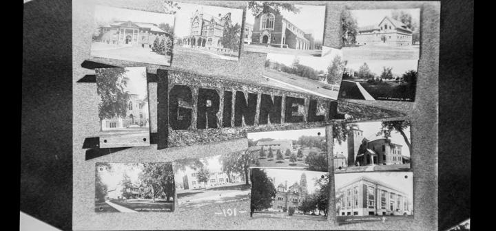 Postcard picturing Grinnell pennant and photos of campus ""