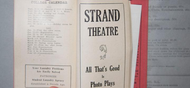 College calendar across from page that says Strand Theatre: All That's Good in Photo Plays