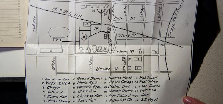 Grinnell College Campus Map, showing now-absent Chicago, Blair, and Music halls