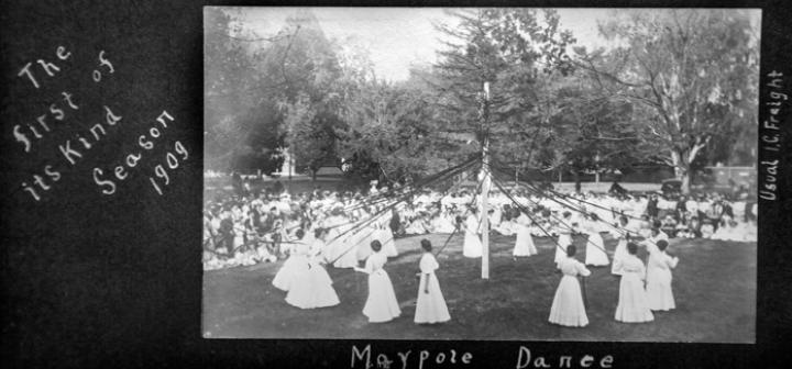 "image of Maypole dancers and scrapbook page saying ""The First of its Kind, Season 1909"