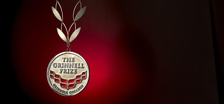 The Grinnell Prize medal on stylized laurel leaf chain
