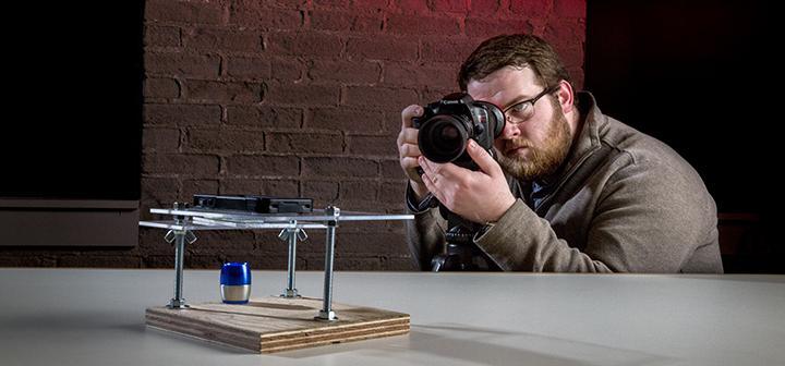 Luke photographing the microscope