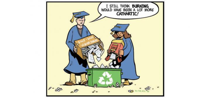 Grads in caps & gowns empty papers into recycle bin. Man: I still think burning would have been a lot more cathartic!