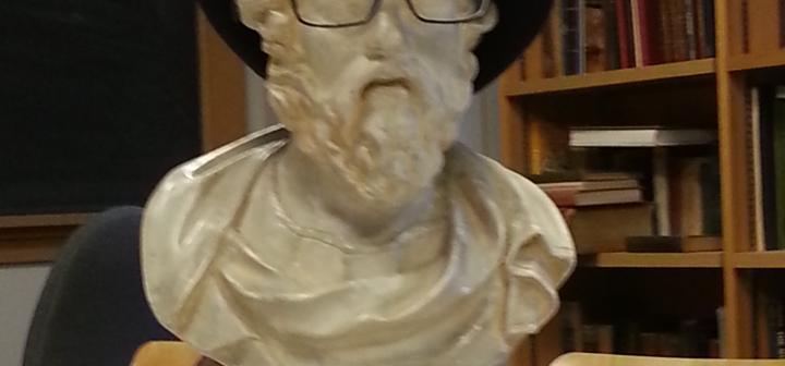 Accessorized Socrates statue